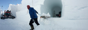 Malte, Kaitlin and Joel removing excess snow from the science trench.